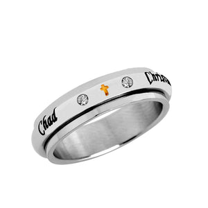 Stainless Steel Spinner Ring with CZ stones Cross for Her
