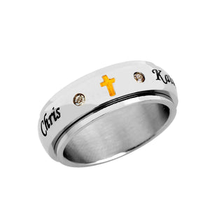 Stainless Steel Spinner Ring with CZ stones and Cross for Him