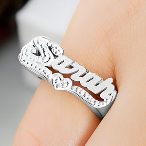 Personalized Name Ring with Beaded Rhodium Tail