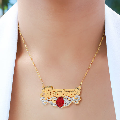 Double Plated Name Necklace with Birthstone