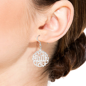 """Faith"" Script Monogram Earrings"