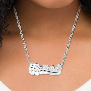 Double Plated Name Necklace with Rhodium Heart & Tail