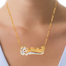 Load image into Gallery viewer, Double Plated Name Necklace with Rhodium Heart & Tail