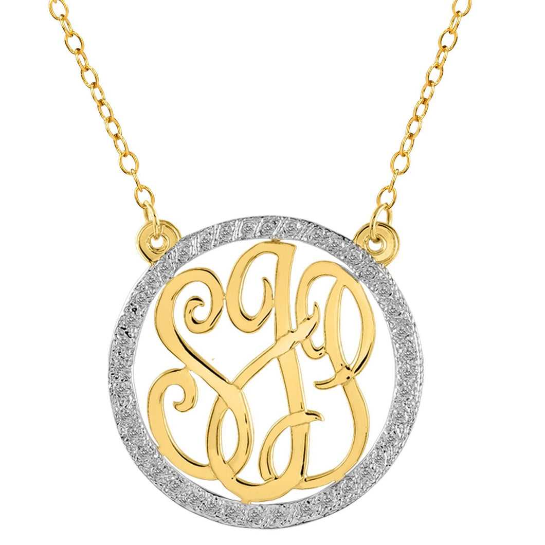 Sterling Silver Monogram Necklace with CZ Stones