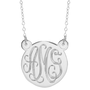 "Sterling Silver 1.5"" Hand Carved Monogram Split"