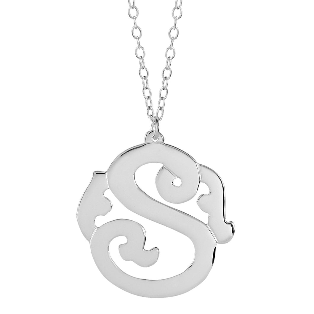 Sterling Silver Monogram Initial Necklace