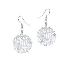 Load image into Gallery viewer, Sterling Silver Handmade Script Monogram Earrings