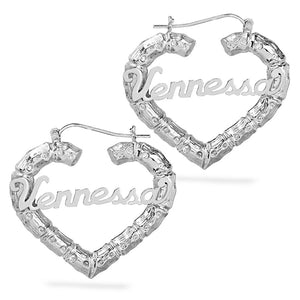Heart Bamboo Name Earrings