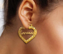 Load image into Gallery viewer, Heart Bamboo Name Earrings