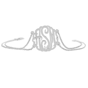 "Sterling Silver Rollo Bracelet with 7/8"" Monogram"