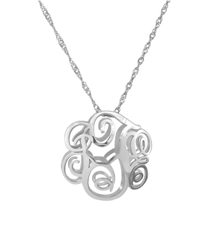 Sterling Silver 3D Monogram Necklace