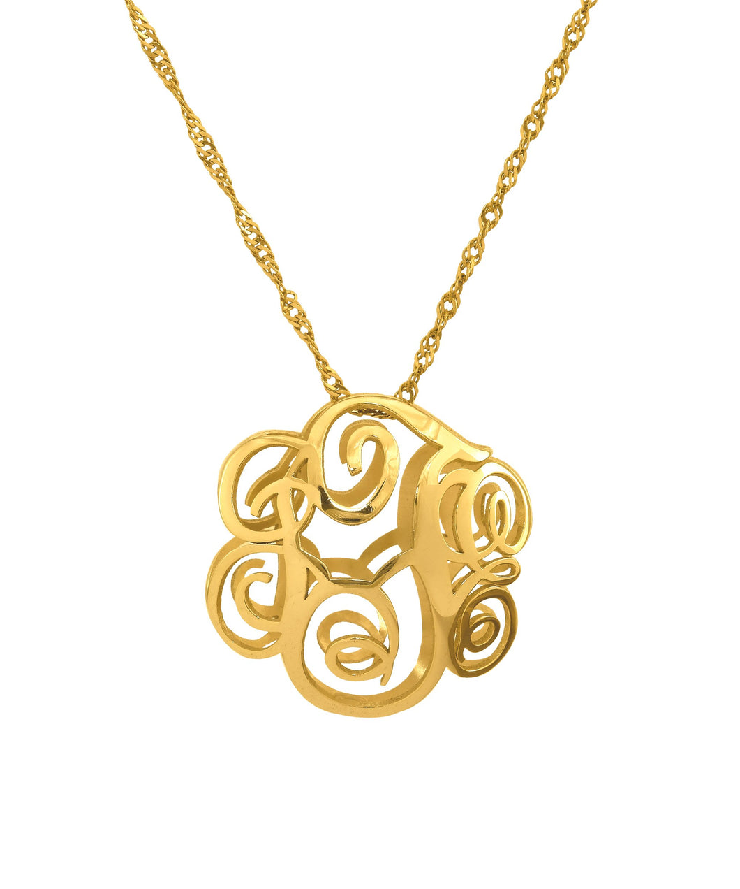 Gold 3D Monogram Necklace