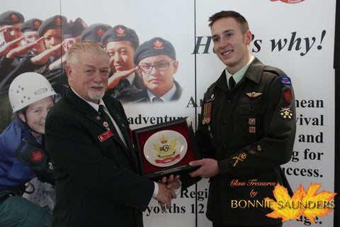Proud recipient Cadet CWO Layden Bergerman–Twan – presented by the Alberta Branch President – Mr. Jake Dufault.