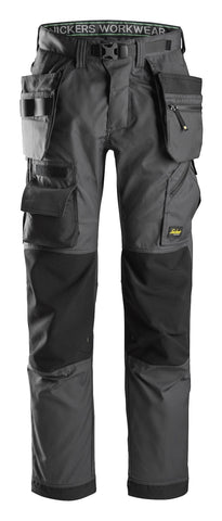 "Snickers Workwear Flexi Floorlayer Pants+ Holster Pockets - 32"" Inseam - Grey/Black"