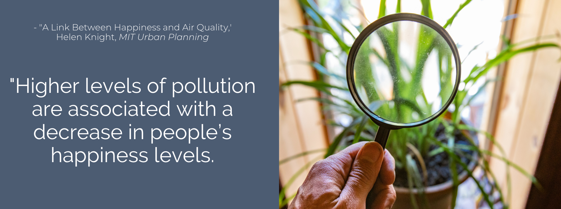 Higher levels of pollution are associated with a decrease in people's happiness levels