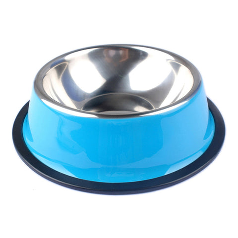 Blue -Stainless Steel Color Spray Paint Pet Dog Bowls