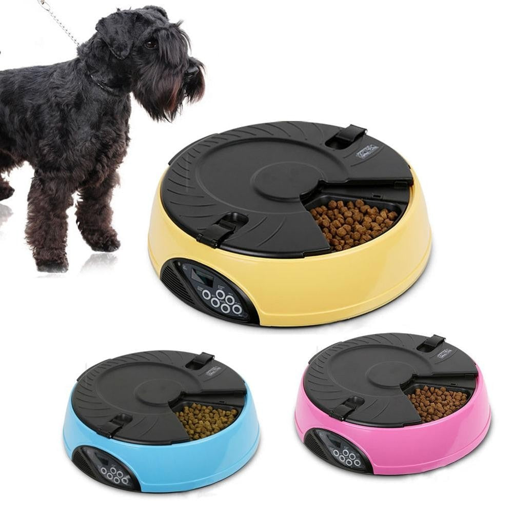 Pink-Blue-Yellow-Cat Food Dispenser Timed Recorder Bowl
