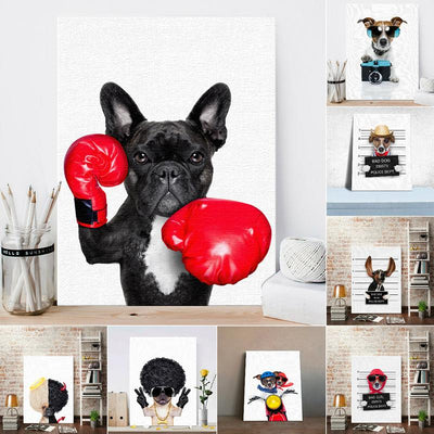 Nordic Style Boxing Dog Canvas Painting