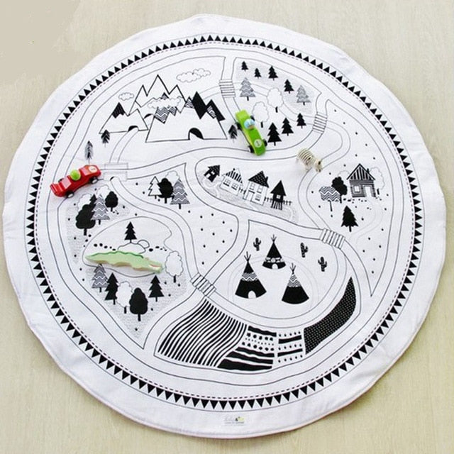 Round Car Track Play Mat