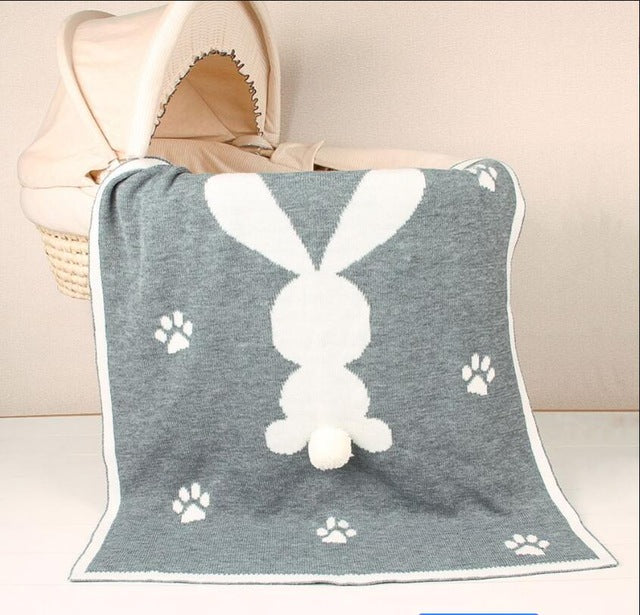 Knitted Cheeky Bunny Blanket