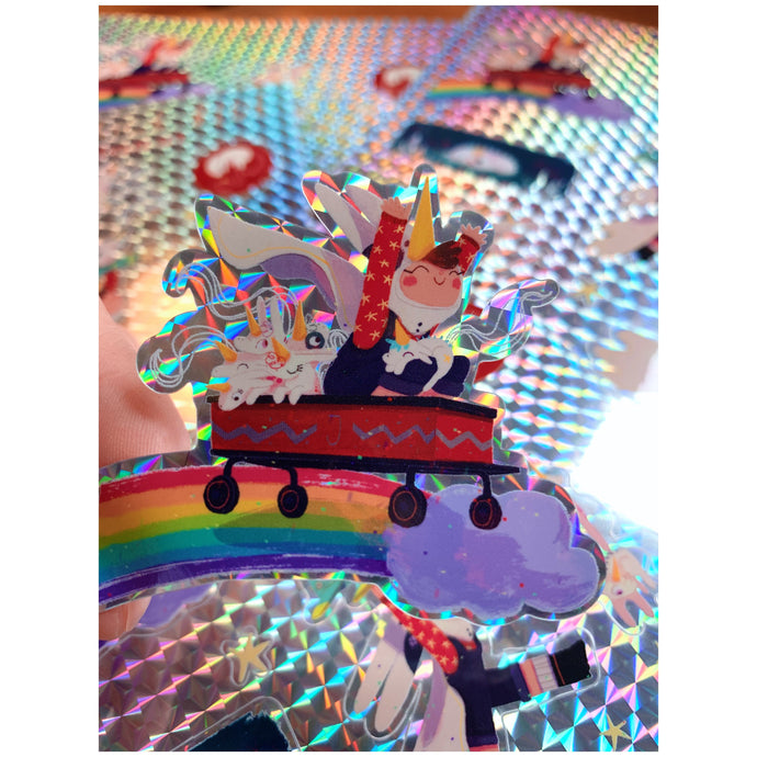 Limited edition holographic June and Unicorn sticker Set of 10