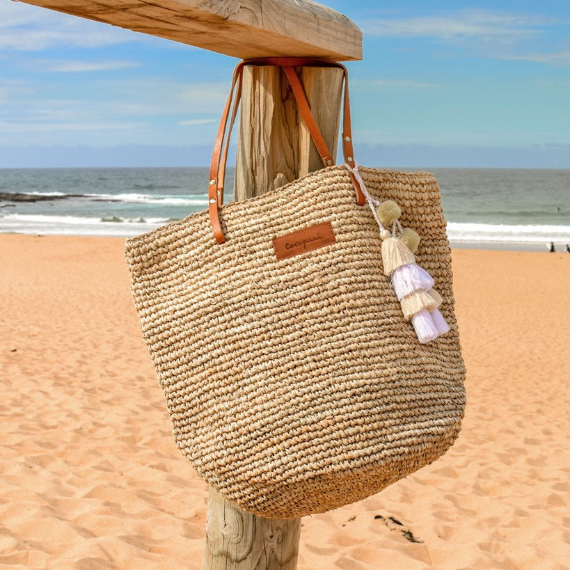 Sand colour beach straw bag