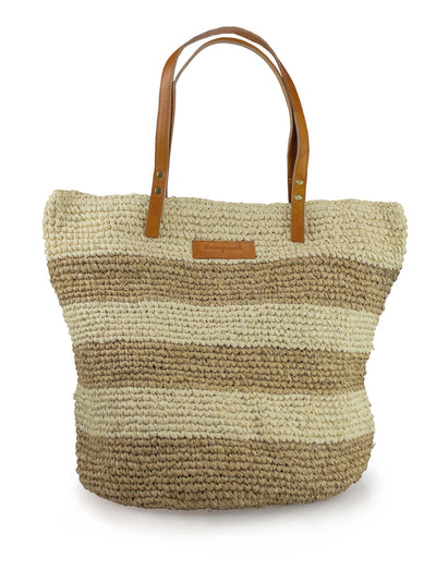 STRAW BAG STRIPES NATURAL-SAND