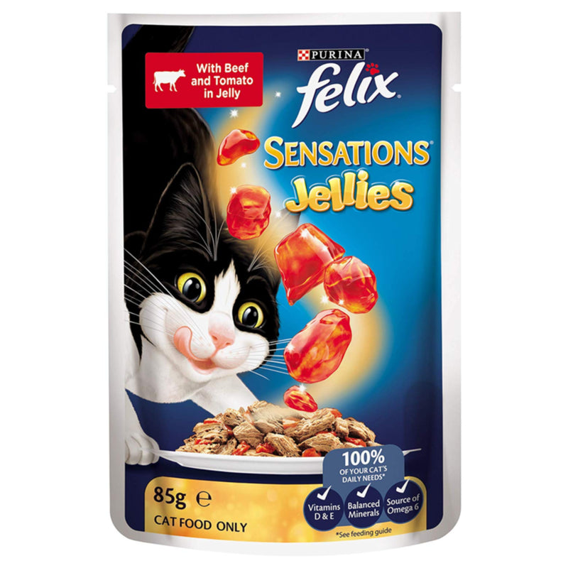 Felix Sensations Jellies Beef and Tomato Flavoured Cat Food