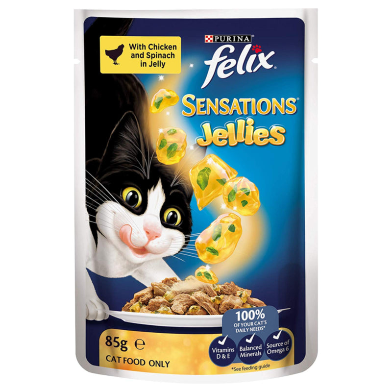 Felix Sensations Jellies Chicken and Spinach Flavoured Cat Food