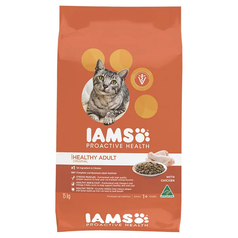 Iams Chicken Healthy Adult Dry Cat Food 15kg