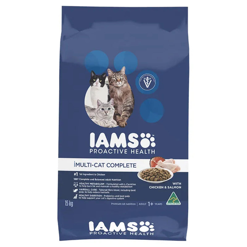 Iams Multi-Cat Complete Adult Dry Cat Food 15kg