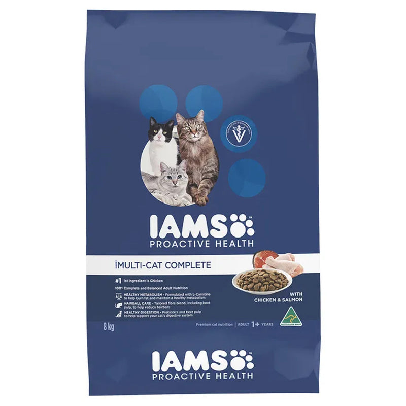 Iams Multi-Cat Complete Adult Dry Cat Food 8kg