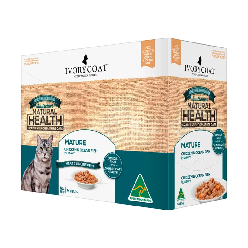 Ivory Coat Mature Chicken & Ocean Fish in Gravy Cat Food 12x85g