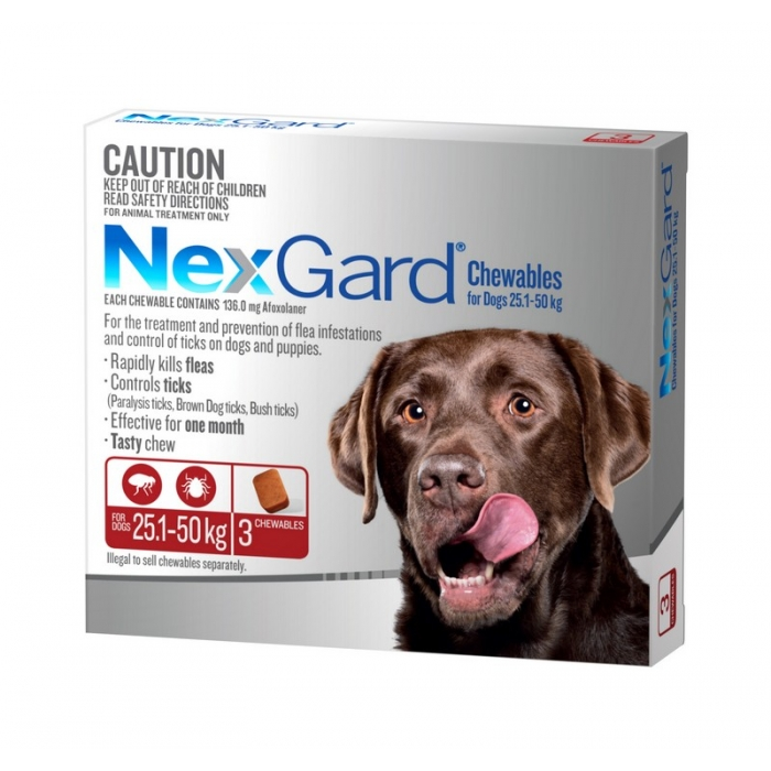 NexGard Chewables for Large Dogs 25kg to 50kg 3 Pack