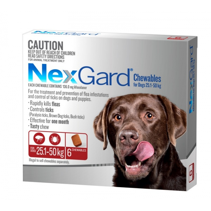 NexGard Chewables for Large Dogs 25kg to 50kg 6 Pack