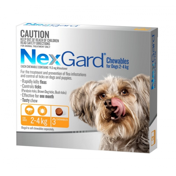 NexGard Chewables for Very Small Dogs 2kg to 4kg 3 Pack