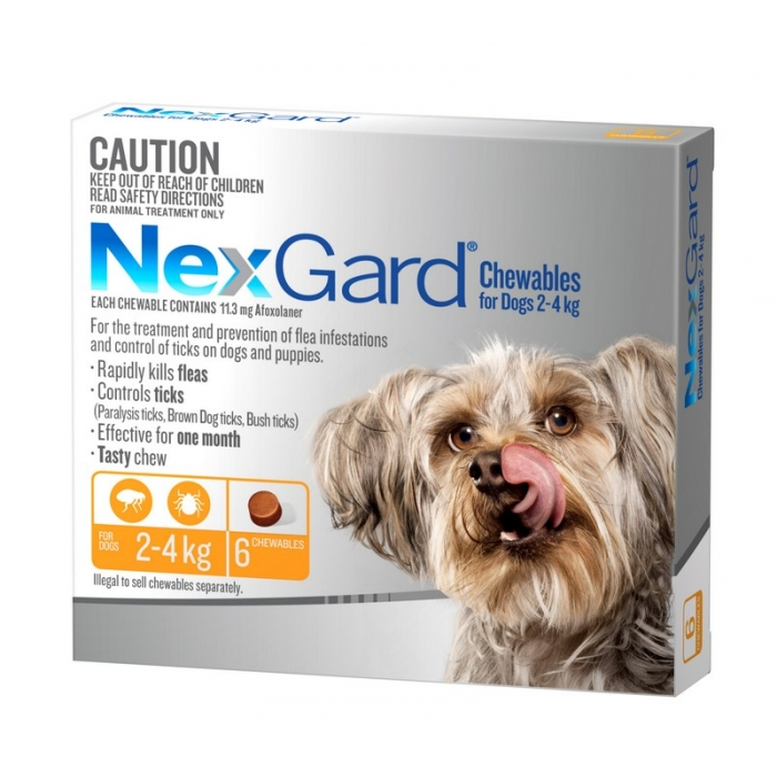 NexGard Chewables for Very Small Dogs 2kg to 4kg 6 Pack