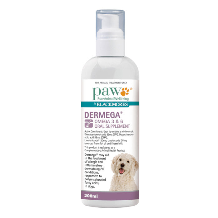 PAW Dermega Omega 3 & 6 Oral Supplement for Dogs 200ml