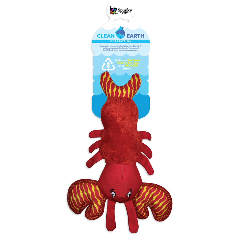 Spunky Pup Clean Earth Lobster Plush Dog Toy