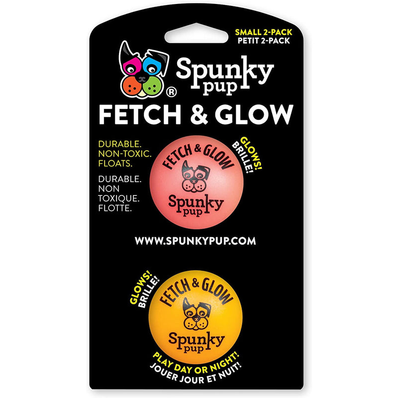 Spunky Pup Fetch & Glow Dog Ball, Small 2-Pack