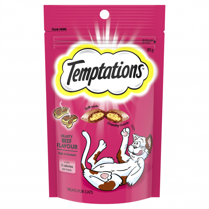 Temptations Cat Treats Hearty Beef Flavour 85g