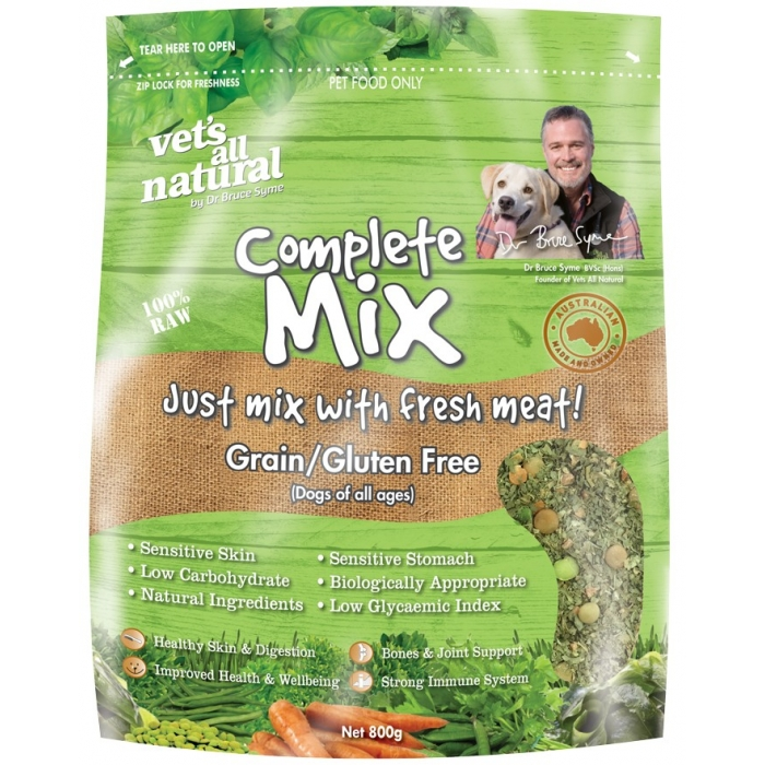 Vets All Natural Complete Mix Grain Gluten Free Dog Food 800g
