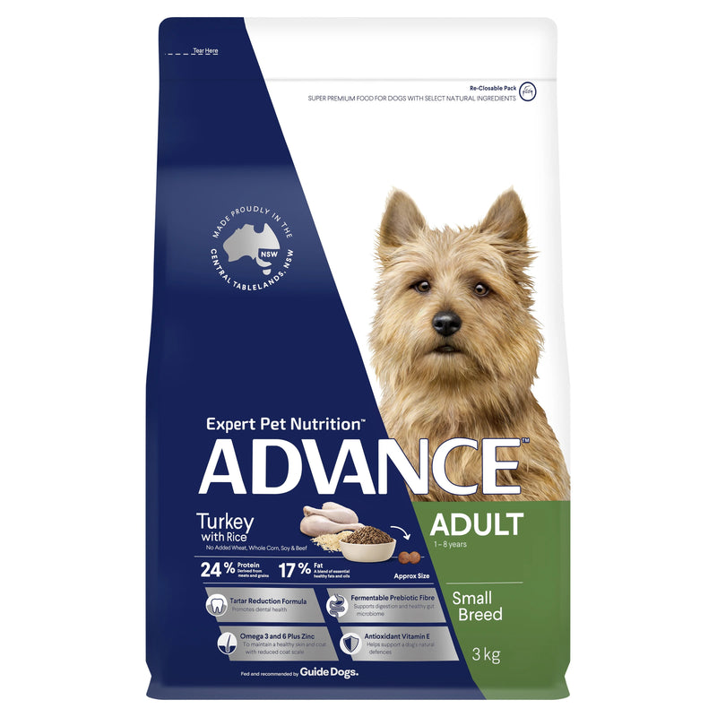 Advance Adult Small Breed Turkey Dry Dog Food - 3kg