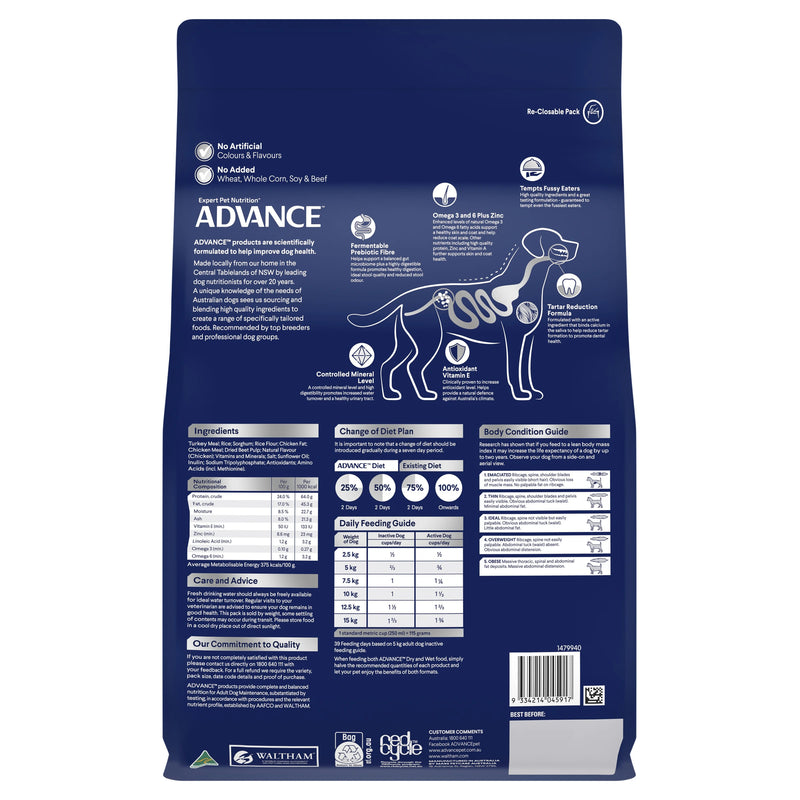 Advance Adult Small Breed Turkey Dry Dog Food - Back View