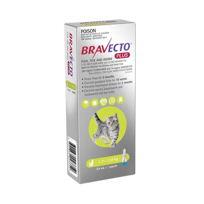 Bravecto Plus for Small Cats 1.2 - 2.8kg