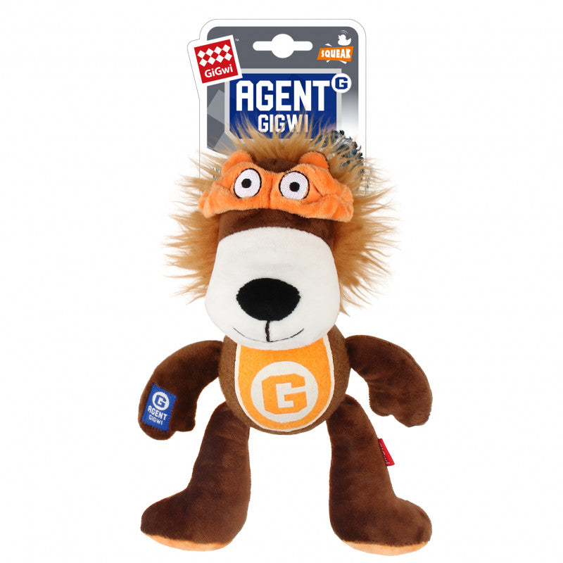 GiGwi Agent Lion Plush Toy with Tennis Ball - Retail Pack