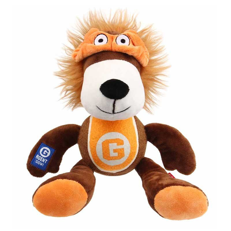 GiGwi Agent Lion Plush Toy with Tennis Ball