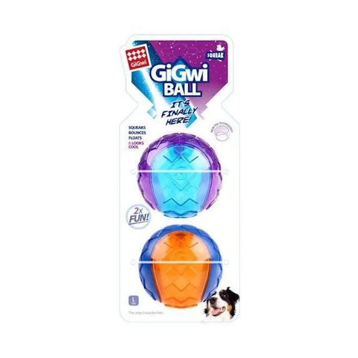 GiGwi Ball Interactive Fetch Dog Toy - Large, 2 Pack