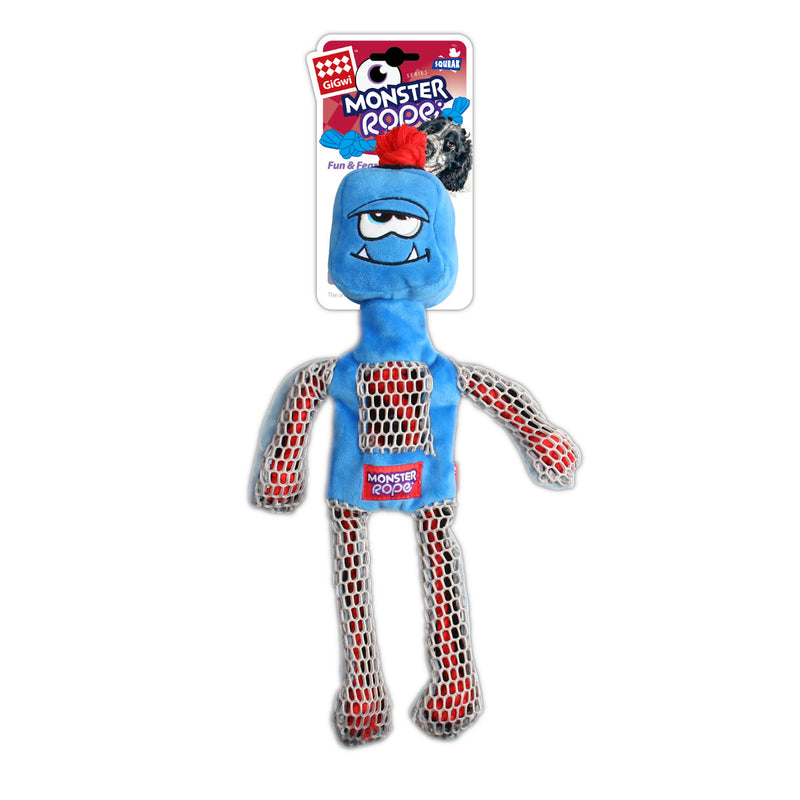 Gigwi Monster Rope Squeaker Blue Dog Toy, Retail Pack