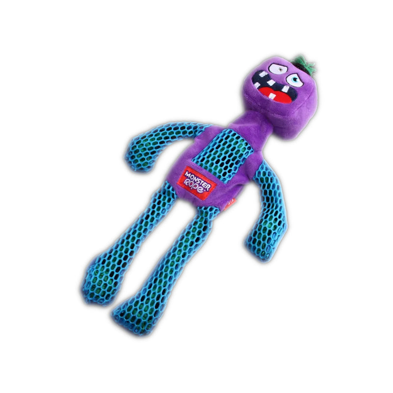 Gigwi Monster Rope Squeaker Purple Dog Toy